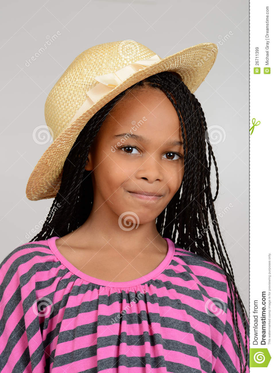 Young African Girl Wearing A Straw Hat Stock Image Image