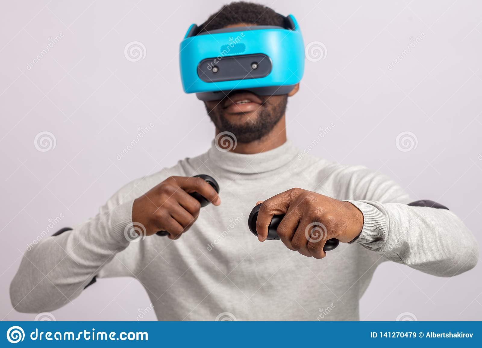 7a52cfedb804 Young African Man Wearing Virtual Reality Goggles Isolated On White ...