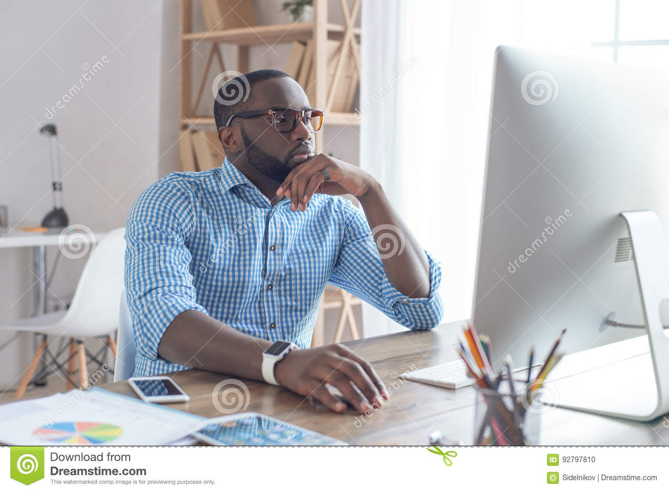 Download Young African Man Working In The Office Business Stock Photo - Image of company, male: 92797810