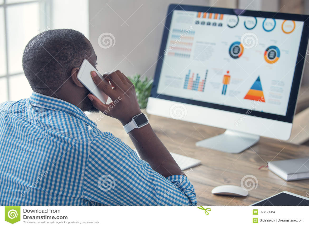 Download Young African Man Working In The Office Business Stock Photo - Image of lifestyle, internet: 92798084