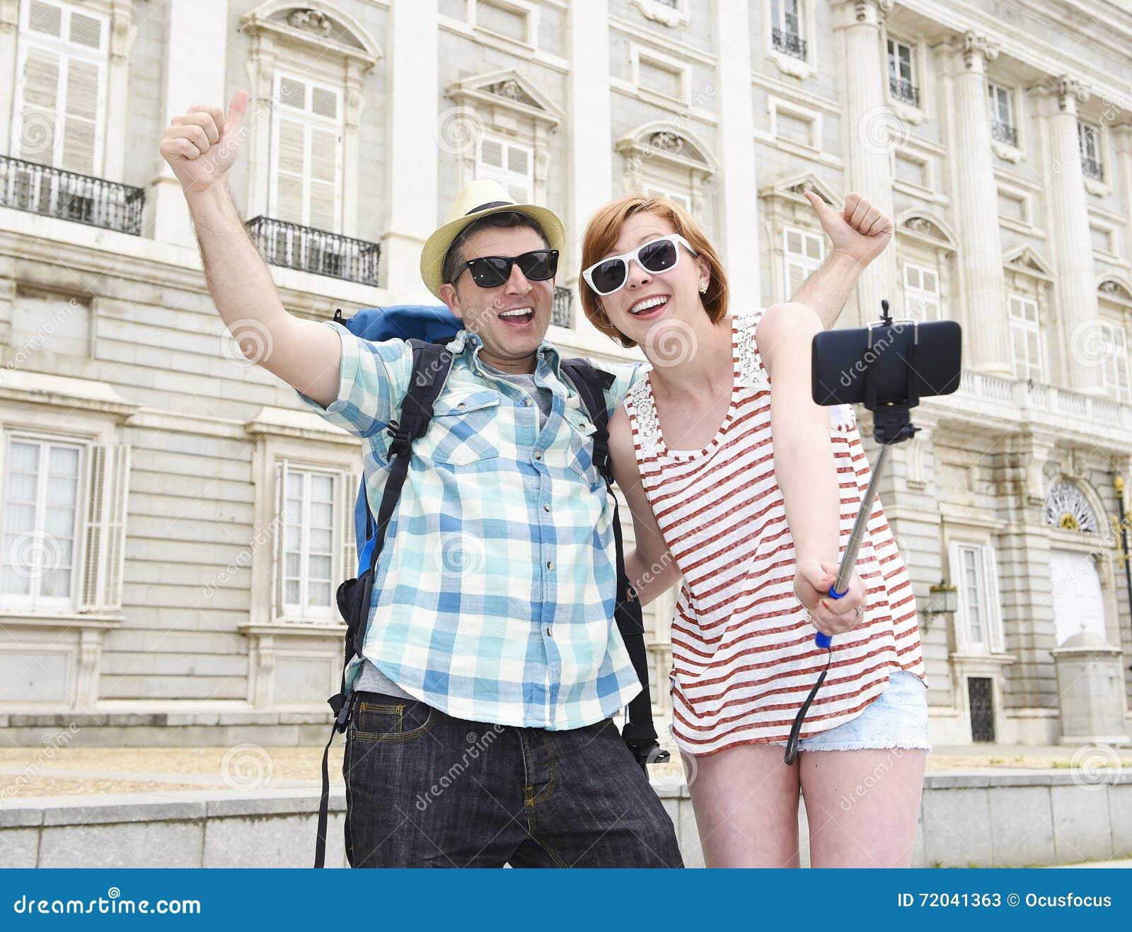 Couple Enjoying Their Summer Holidays Stock Photo: Young American Couple Enjoying Spain Holiday Trip Taking