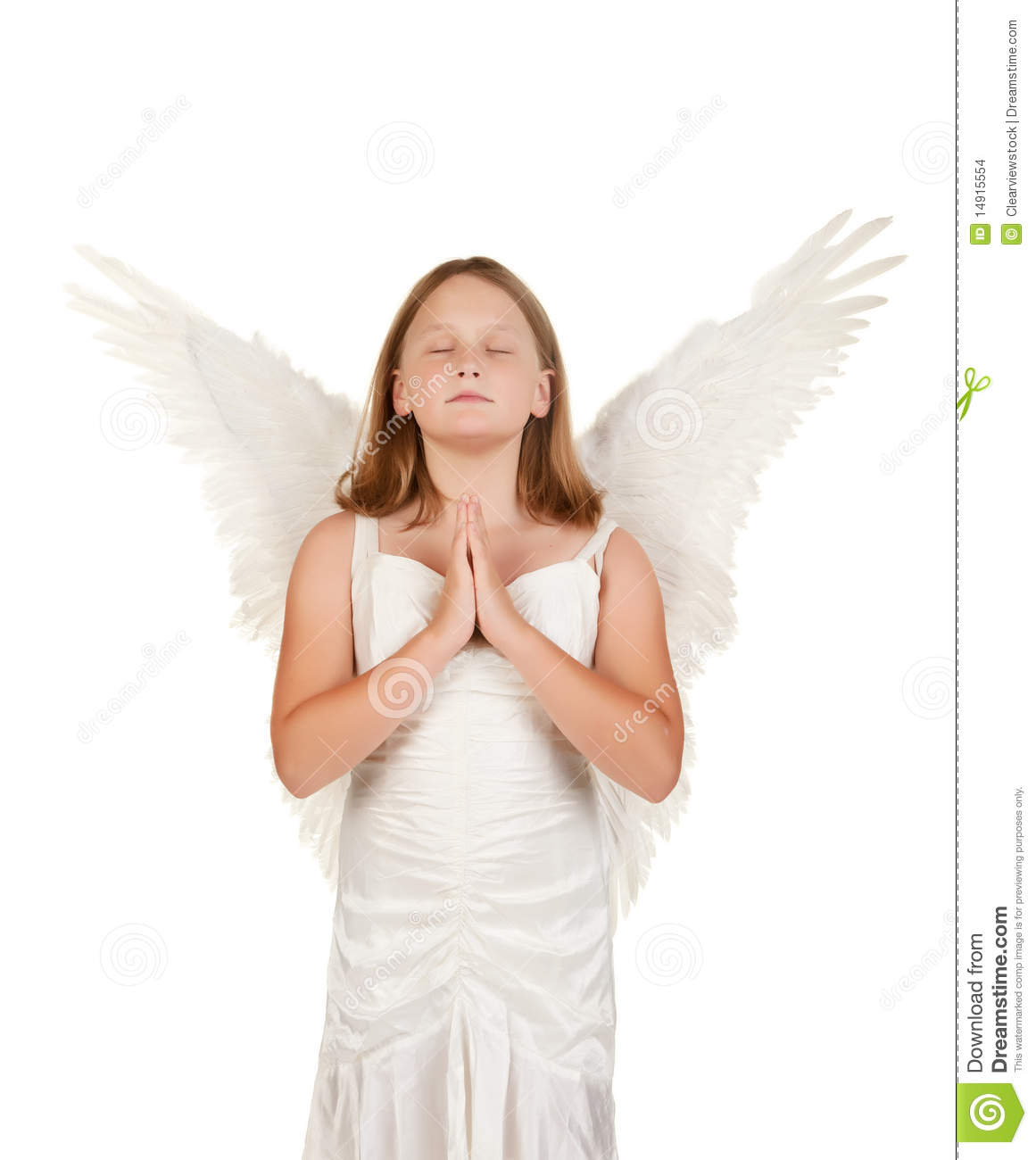 Young Angel Girl Praying On White Stock Photo Image Of Background
