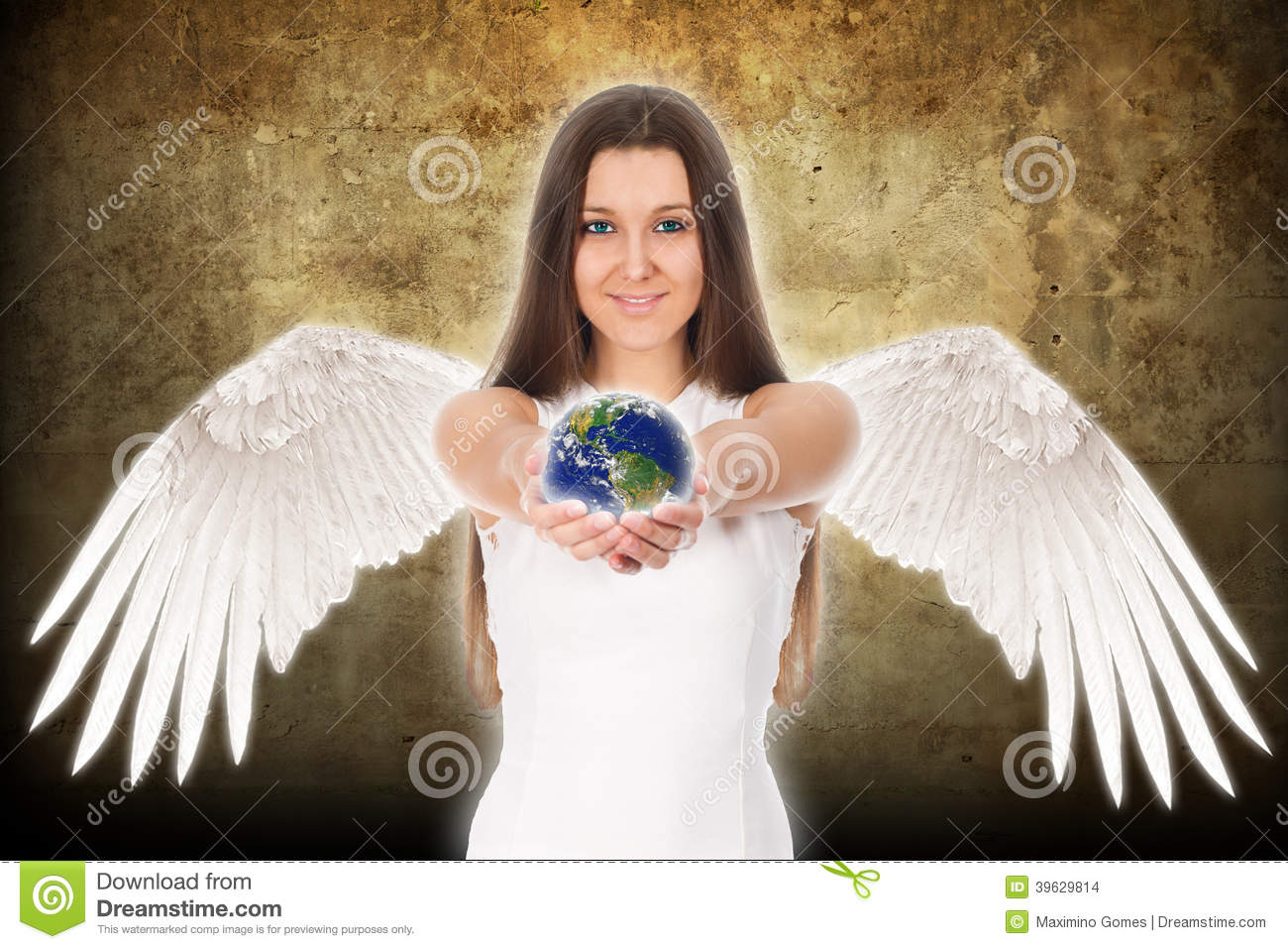 Young angel woman holding Earth in hands