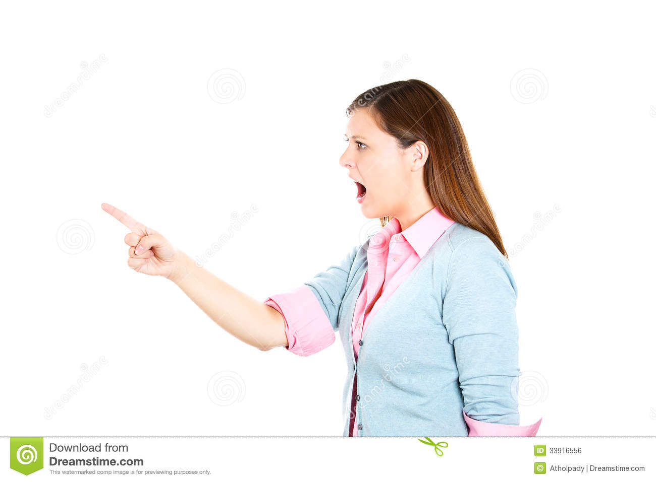 Young Angry Yelling Woman Pointing At Someone Royalty Free ...