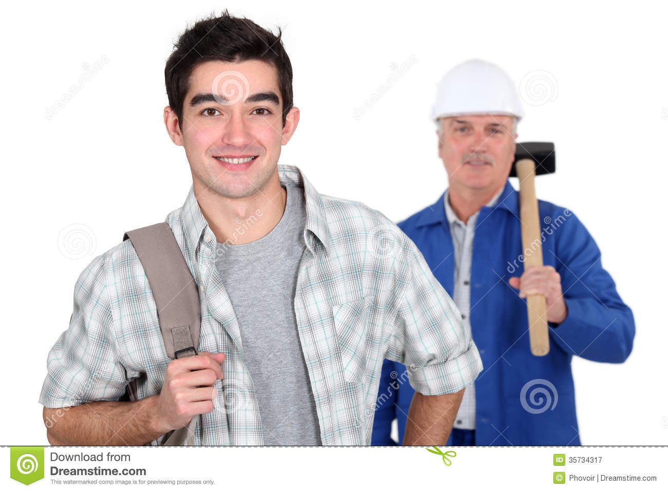 young apprentice and mason stock image  image of backpack