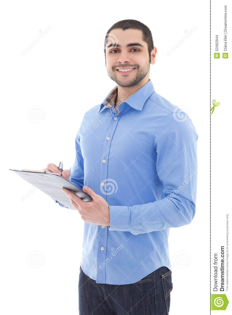 Young arabic man writing something on clipboard isolated on whit