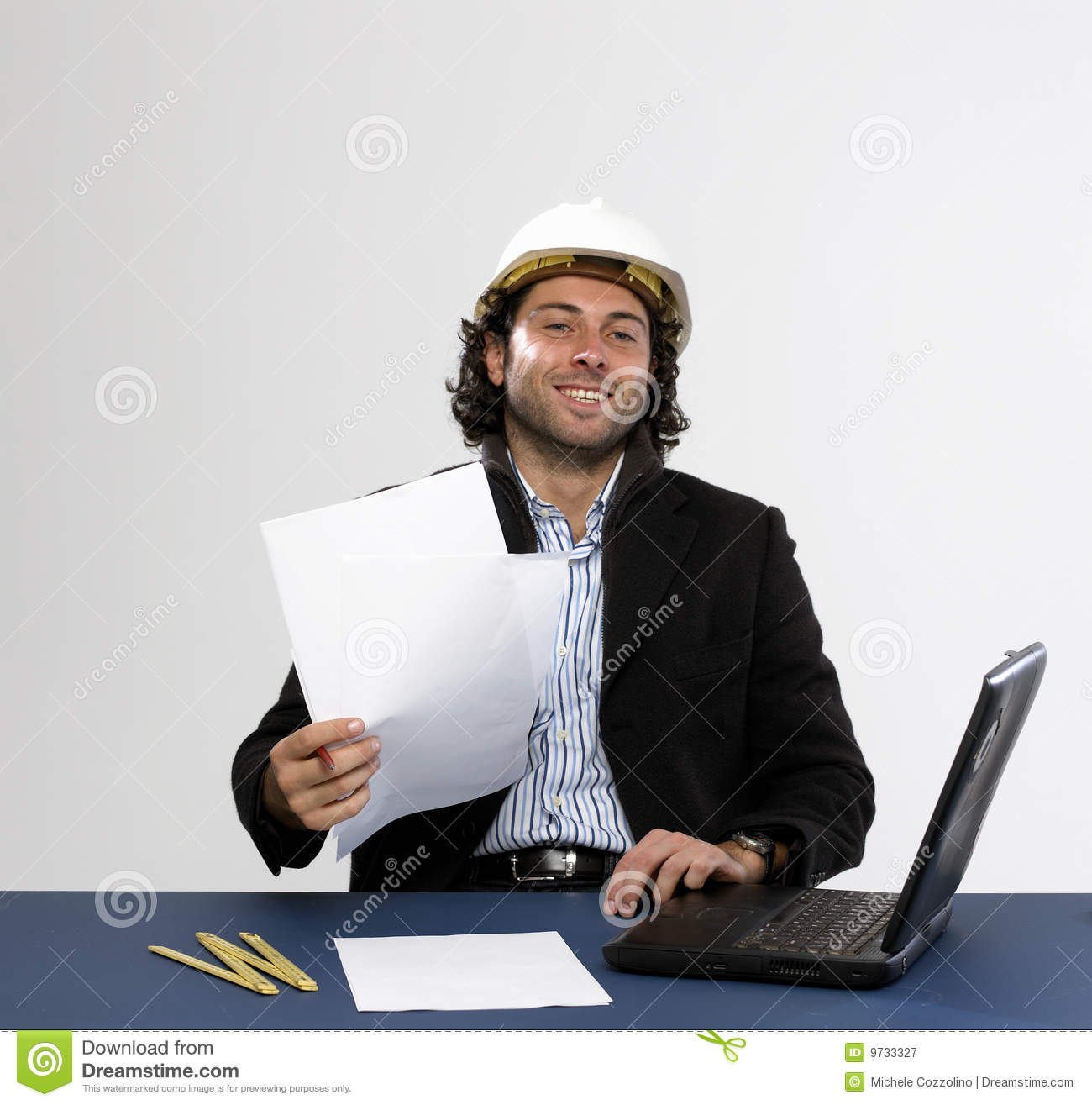 Young architect at work royalty free stock photography for Architect at work