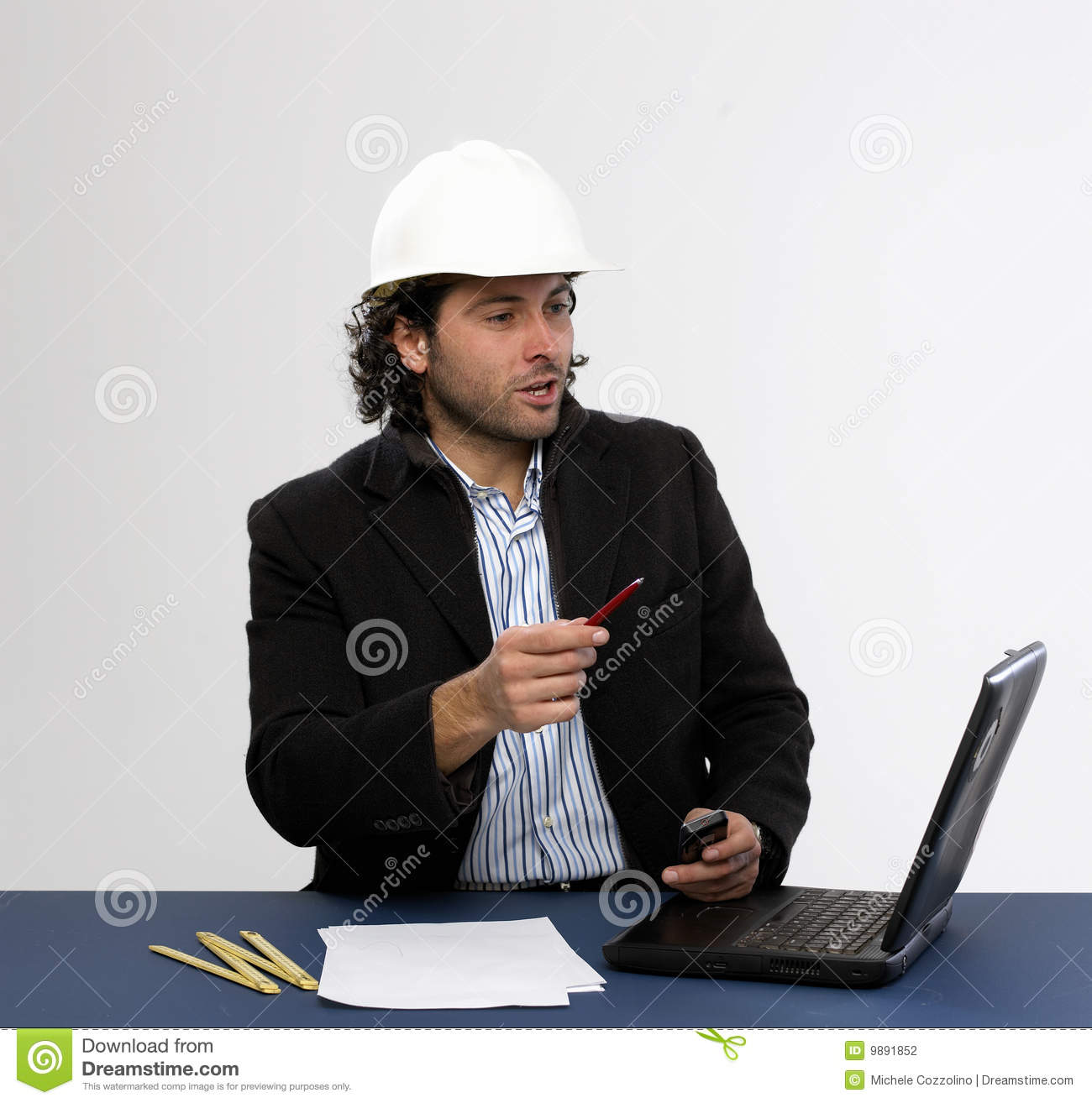 Young architect at work stock photography image 9891852 for Architect at work
