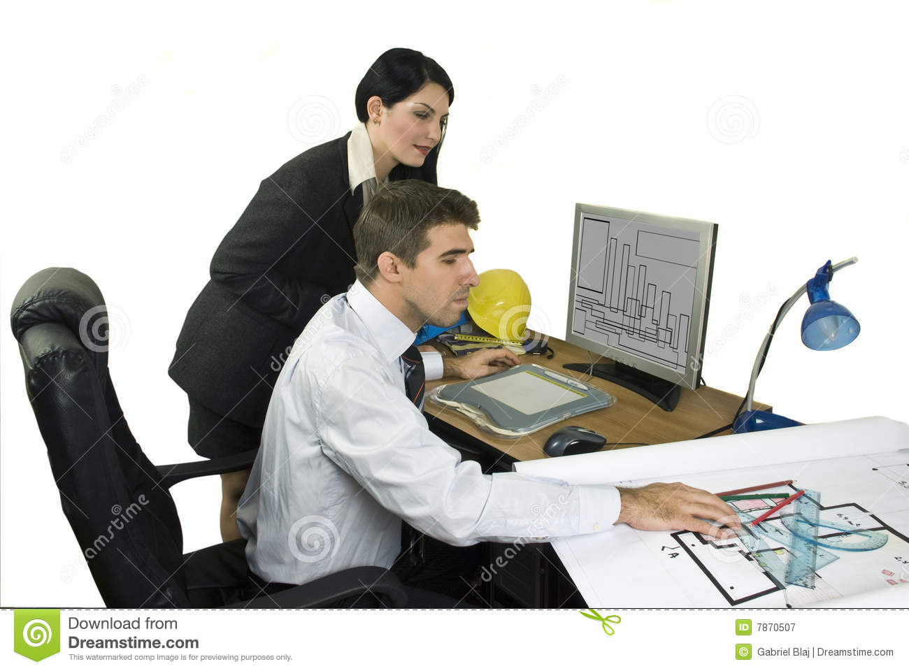 Young architects in office