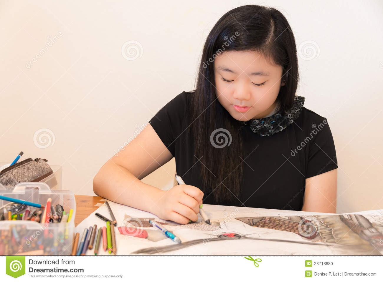 Young Artist Drawing Stock Illustration Illustration Of Adolescence