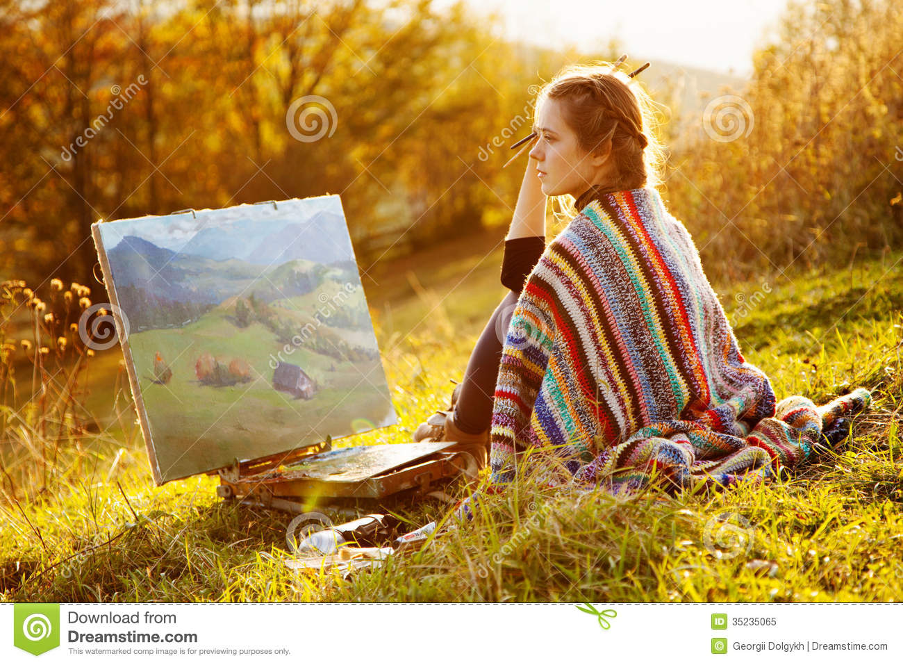 Young Artist Painting An Autumn Landscape Stock Image