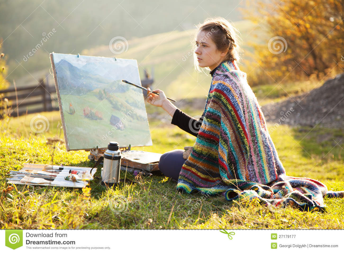 Young Artist Painting A Landscape Stock Image - Image of ...