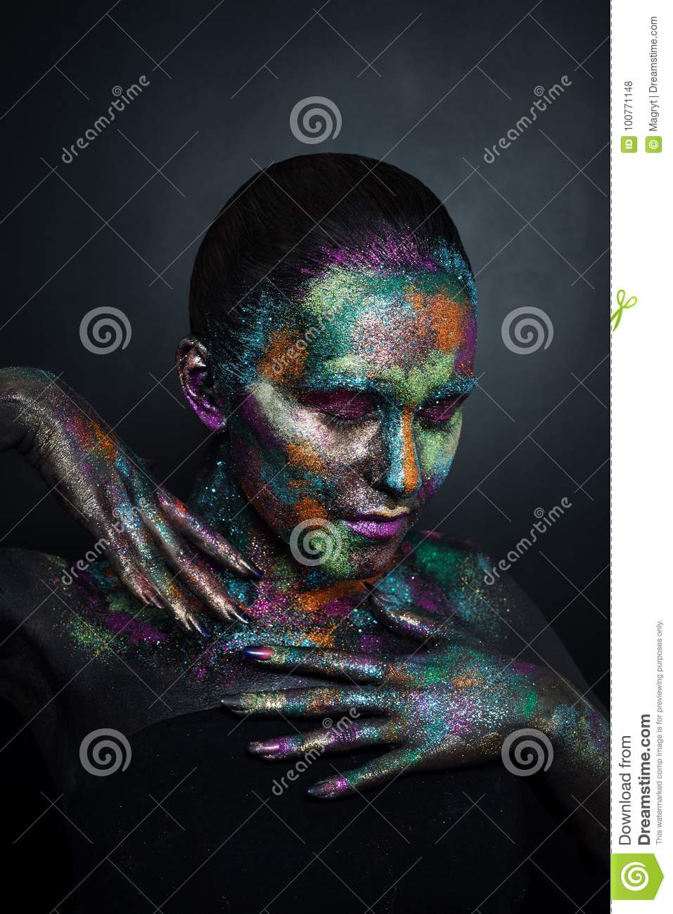 Young Artistic Woman In Black Paint And Colourful Powder Glowing Dark Makeup Creative Body Art On The Theme Of Space Stock Photo Image Of Dance Lady 100771148