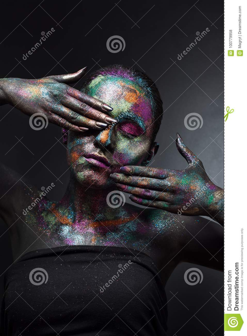 Young Artistic Woman In Black Paint And Colourful Powder Glowing Dark Makeup Creative Body Art On The Theme Of Space Stock Photo Image Of Eyes Cosmic 100779958