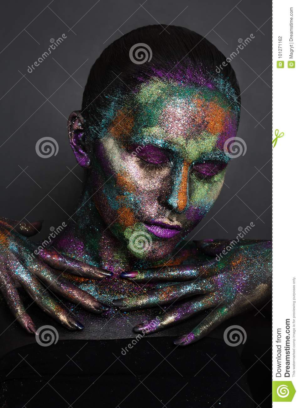 Young Artistic Woman In Black Paint And Colourful Powder Glowing Dark Makeup Creative Body Art On The Theme Of Space Stock Photo Image Of Female Cosmetics 101271162