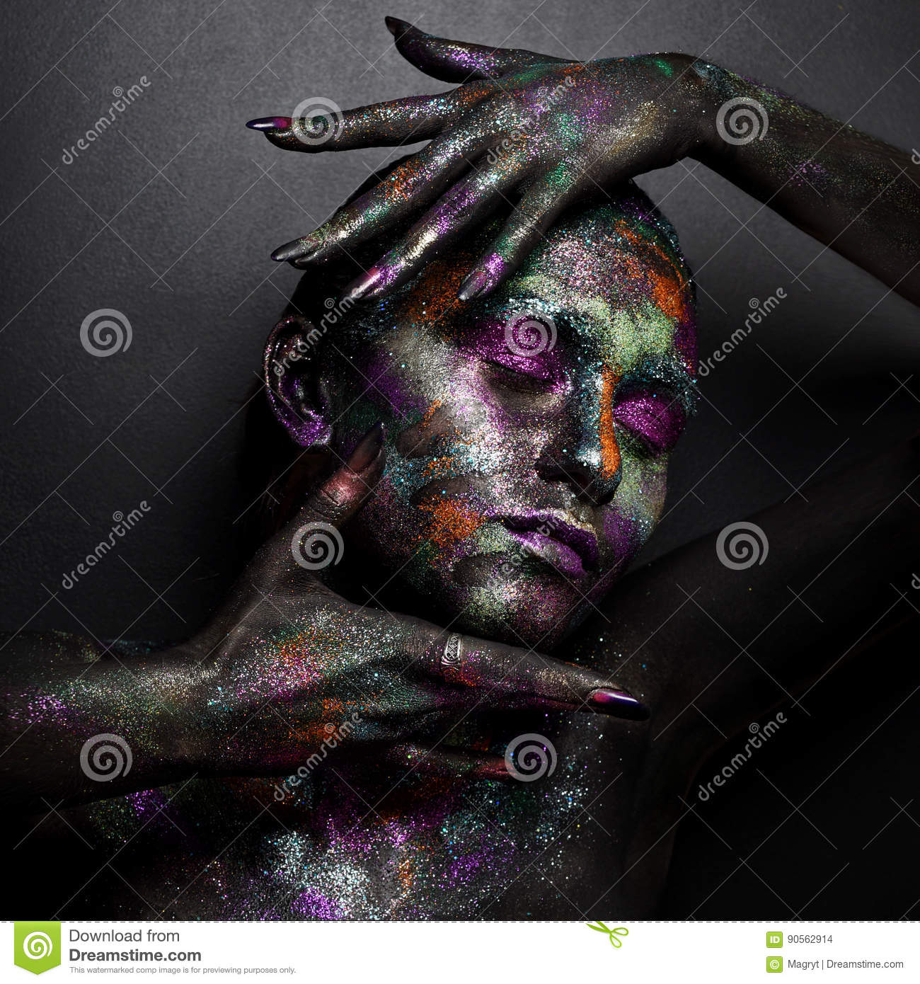 Young Artistic Woman In Black Paint And Colourful Powder Glowing Dark Makeup Creative Body Art On The Theme Of Space Stock Photo Image Of Attractive Eyes 90562914