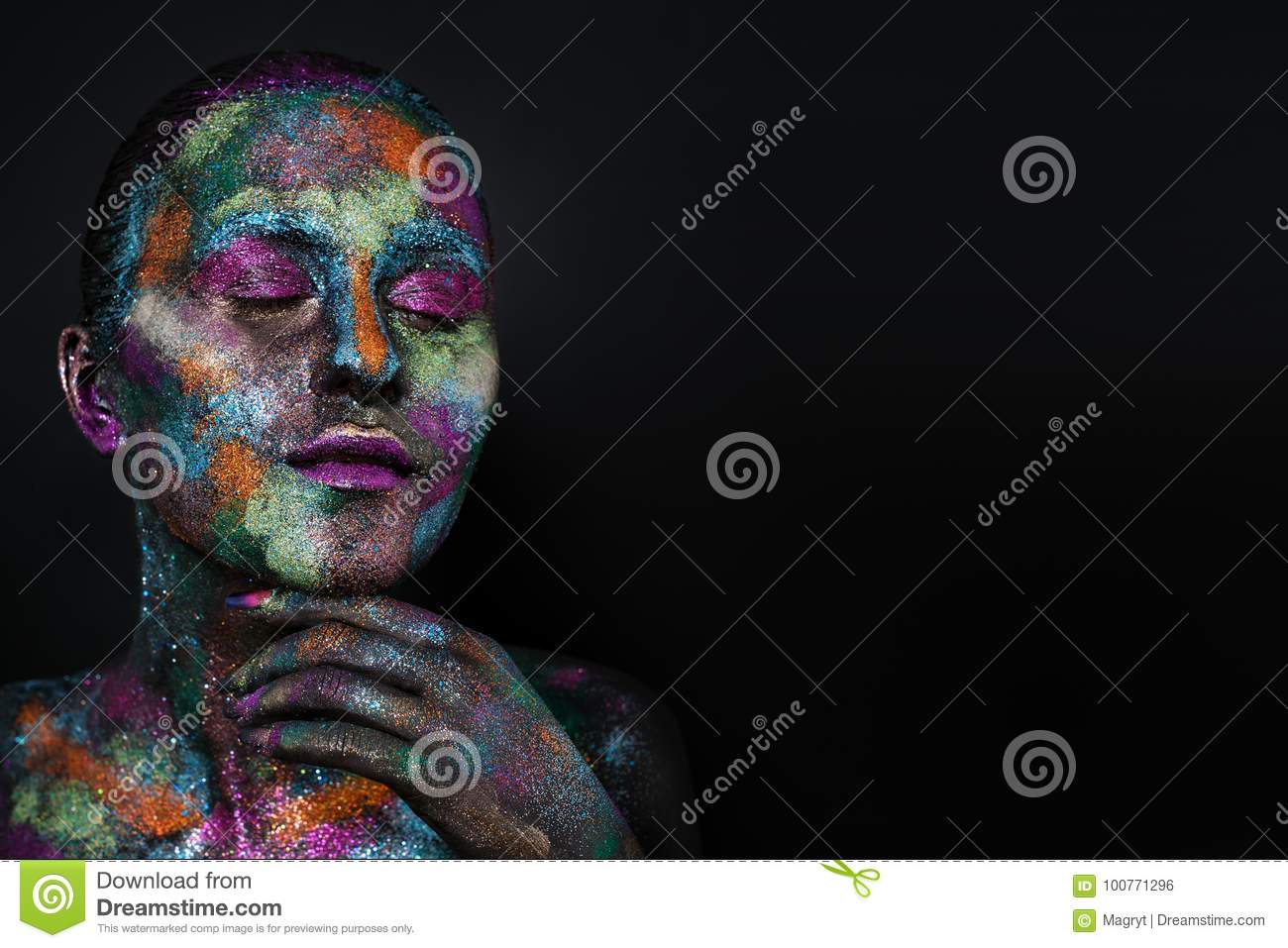Young Artistic Woman In Black Paint And Colourful Powder Glowing Dark Makeup Creative Body Art On The Theme Of Space Stock Photo Image Of Artistic Design 100771296