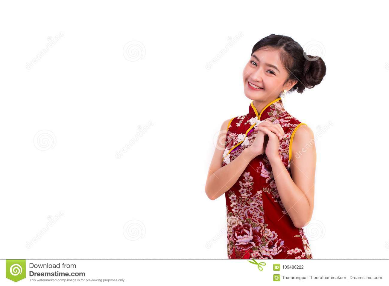 Young Asian Beauty Woman Wearing Cheongsam And Blessing Or Greet
