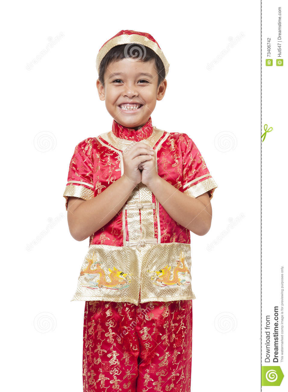 b1d0dbcc5 Young Asian Boy With Chinese Traditional Outfit Cheongsam Or Tan ...