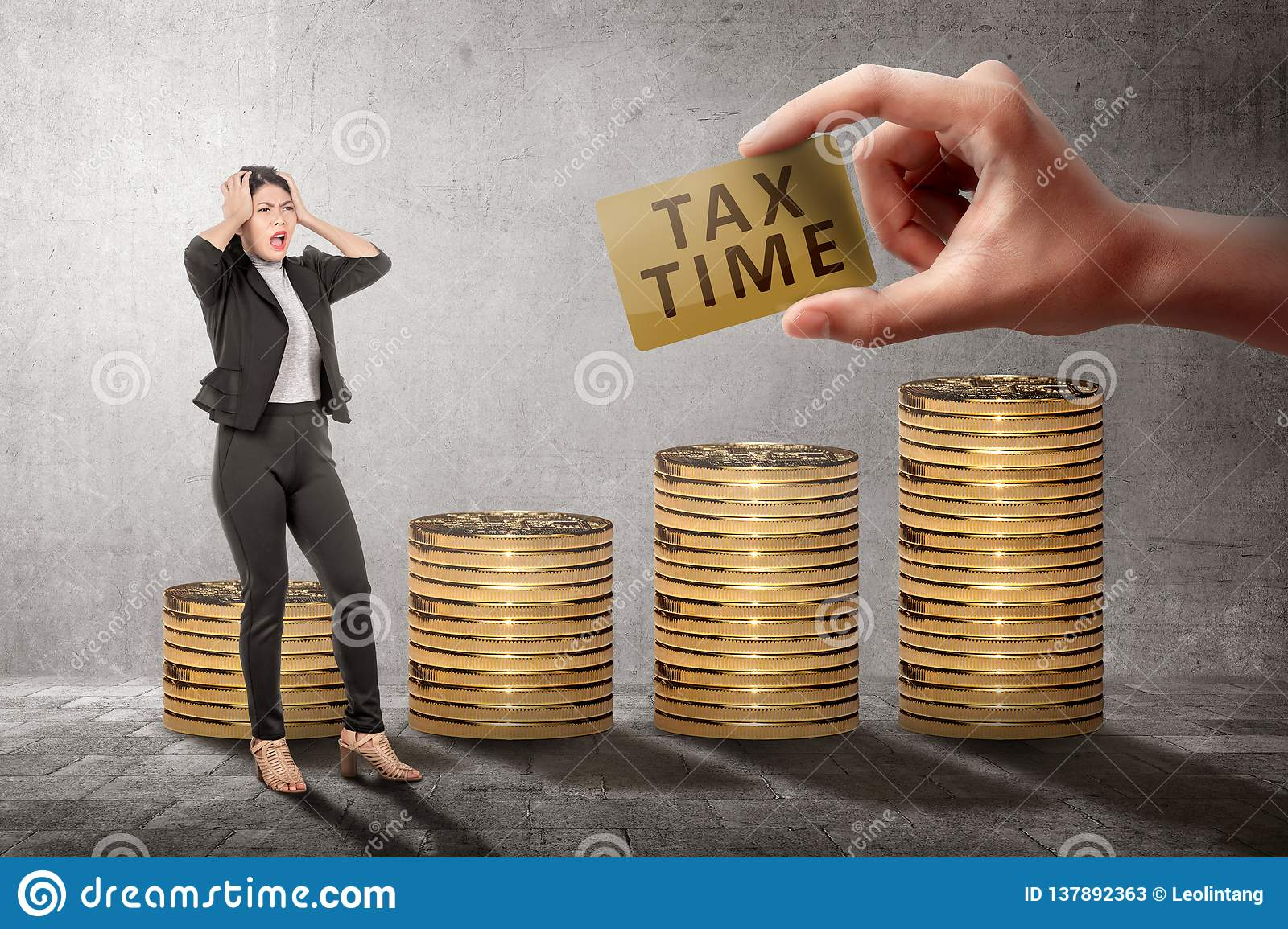 Young asian business woman feeling stressed because Tax time deadline