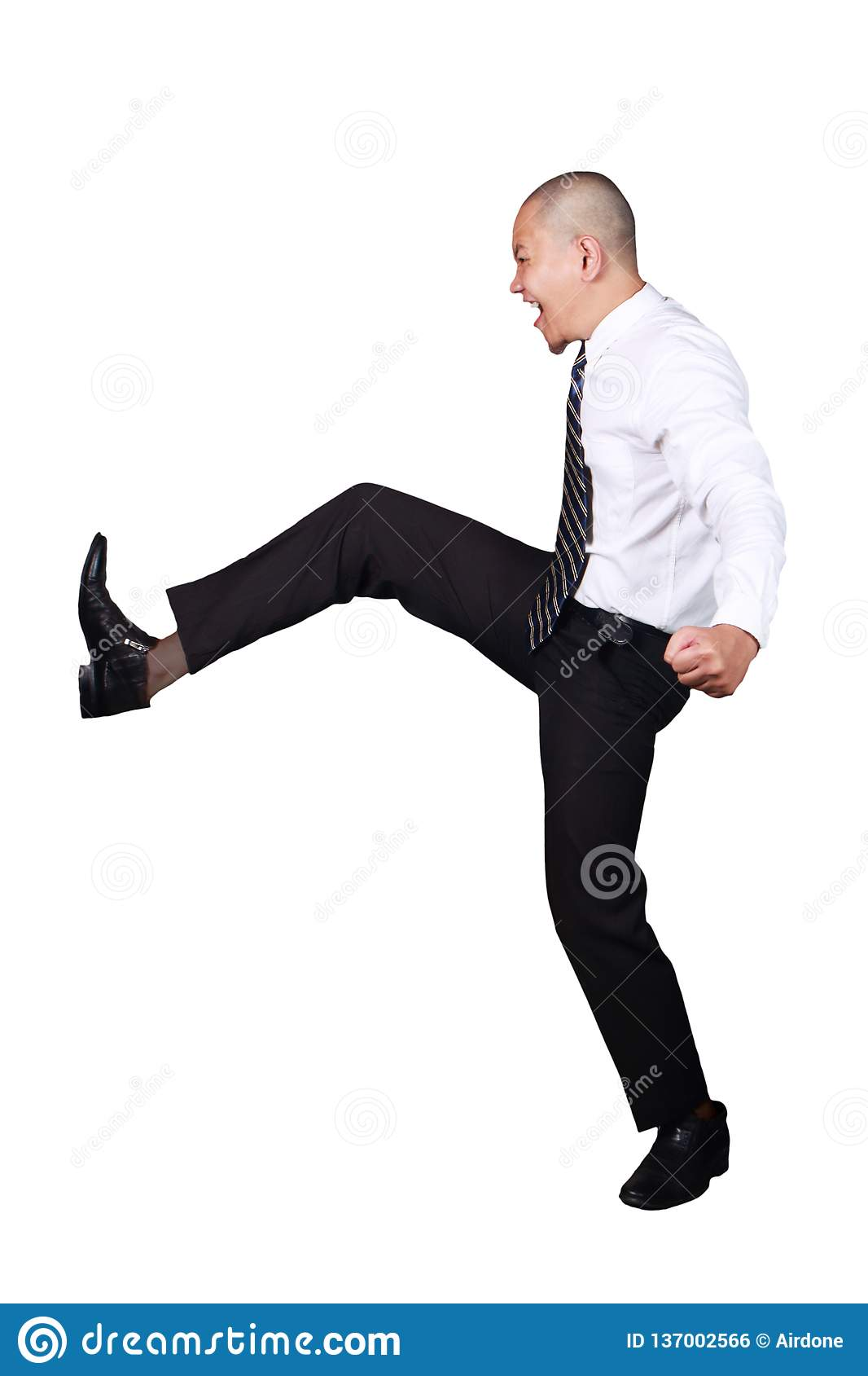 Young Asian Businessman Kicking Gesture, Screams Expression