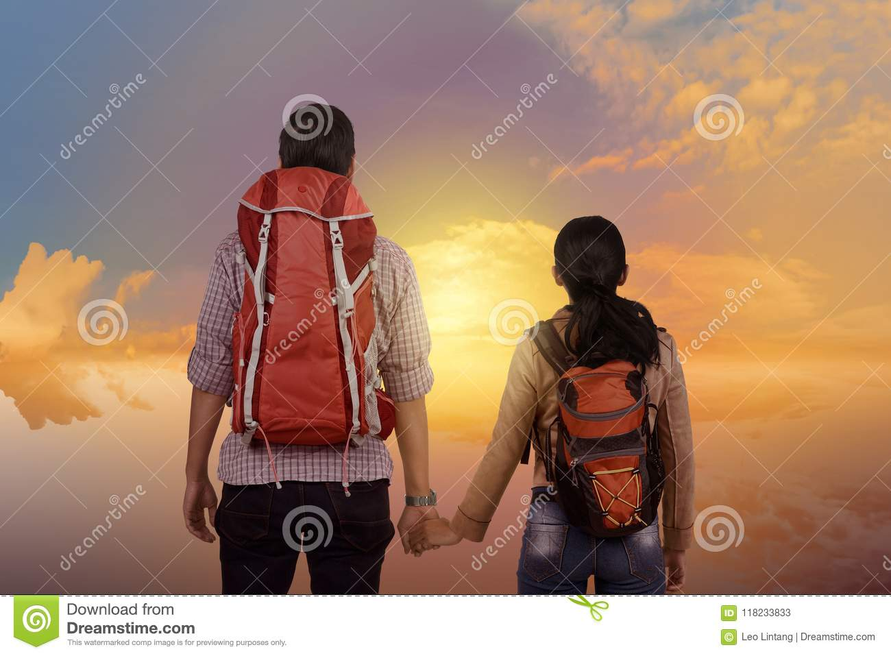 Young asian couple enjoying scenery together