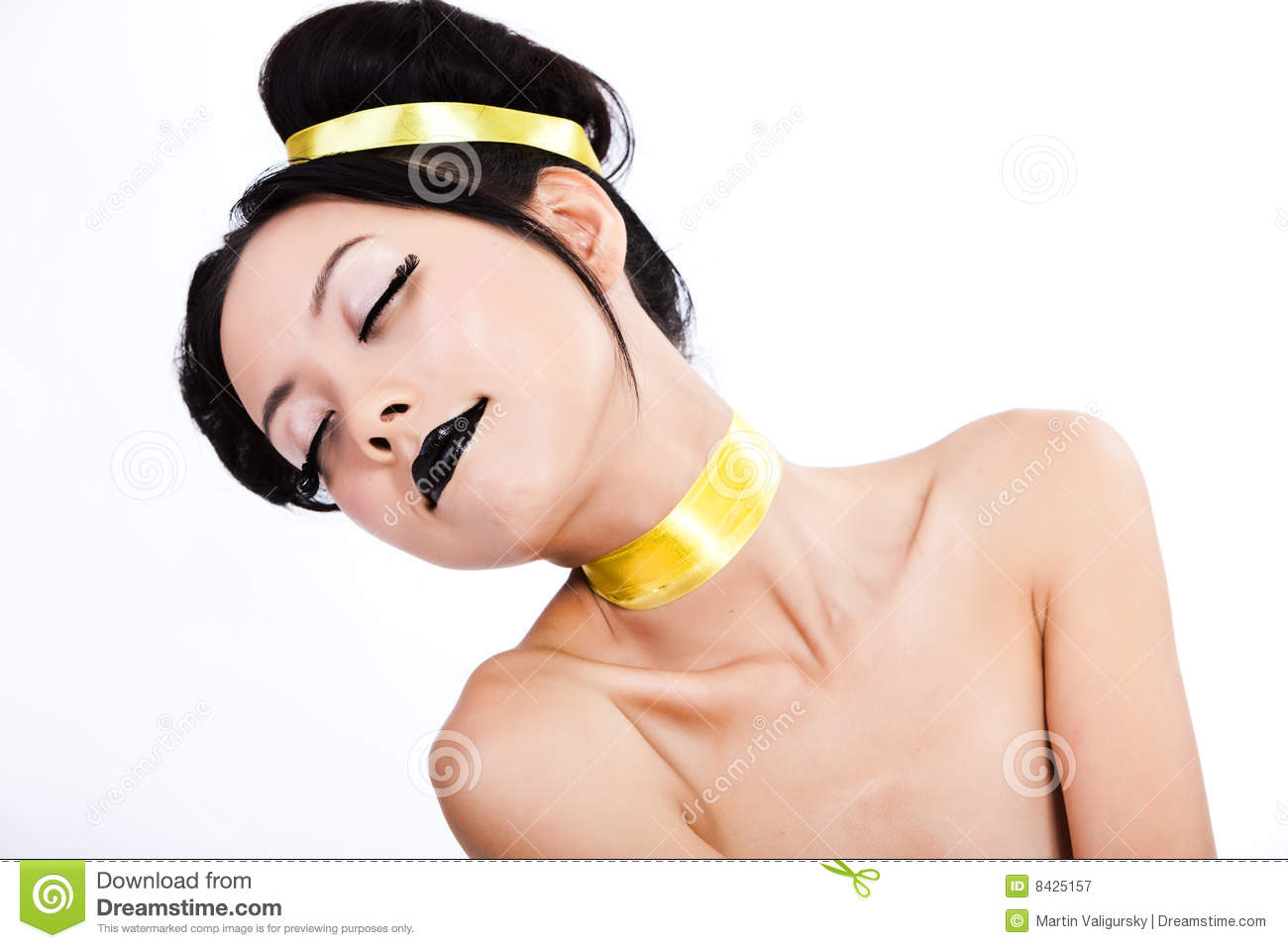 Young asian female with colorful makeup