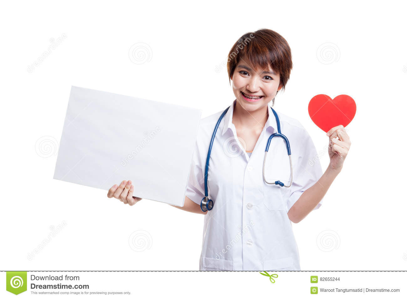 Young Asian female doctor with red heart and blank sign.