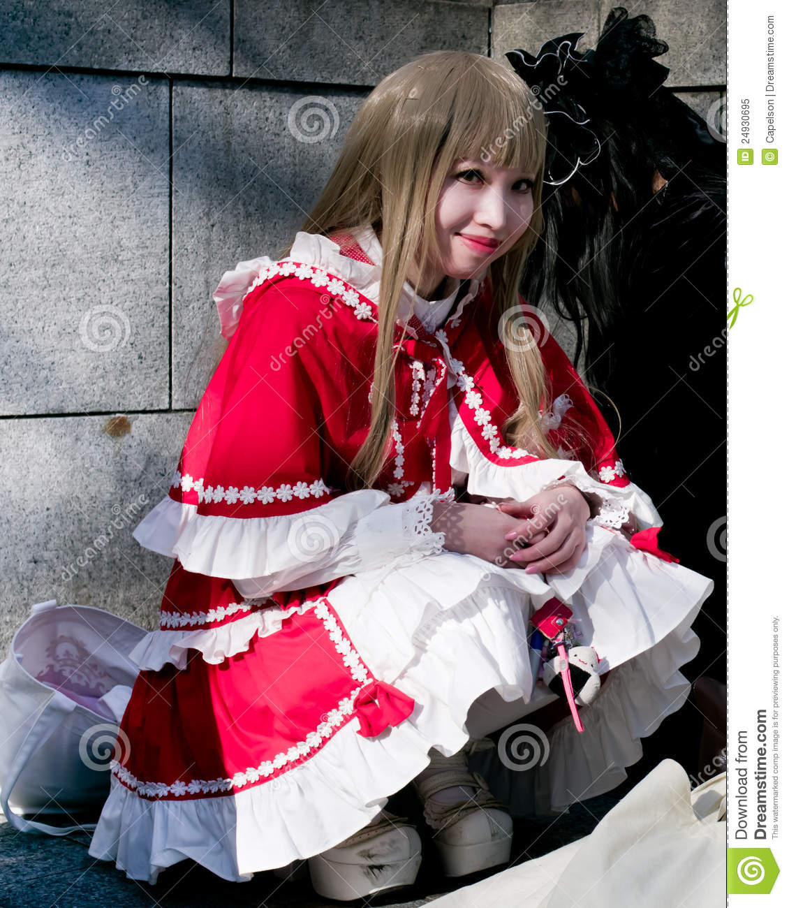 Young asian girl with cosplay looking