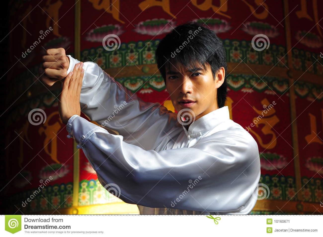 Young Asian Man In Gongfu Stance