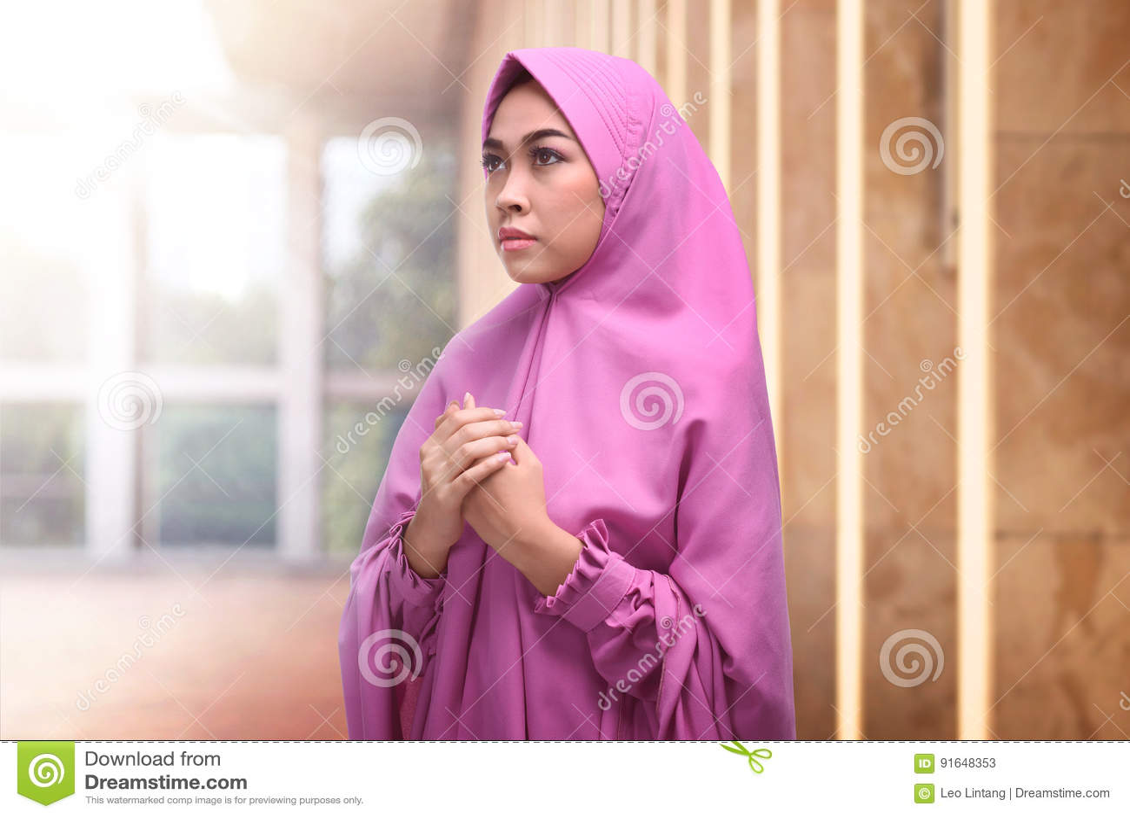 Young Asian Muslim Woman In Hijab Dress Praying Stock Image - Image Of Indonesian -5957