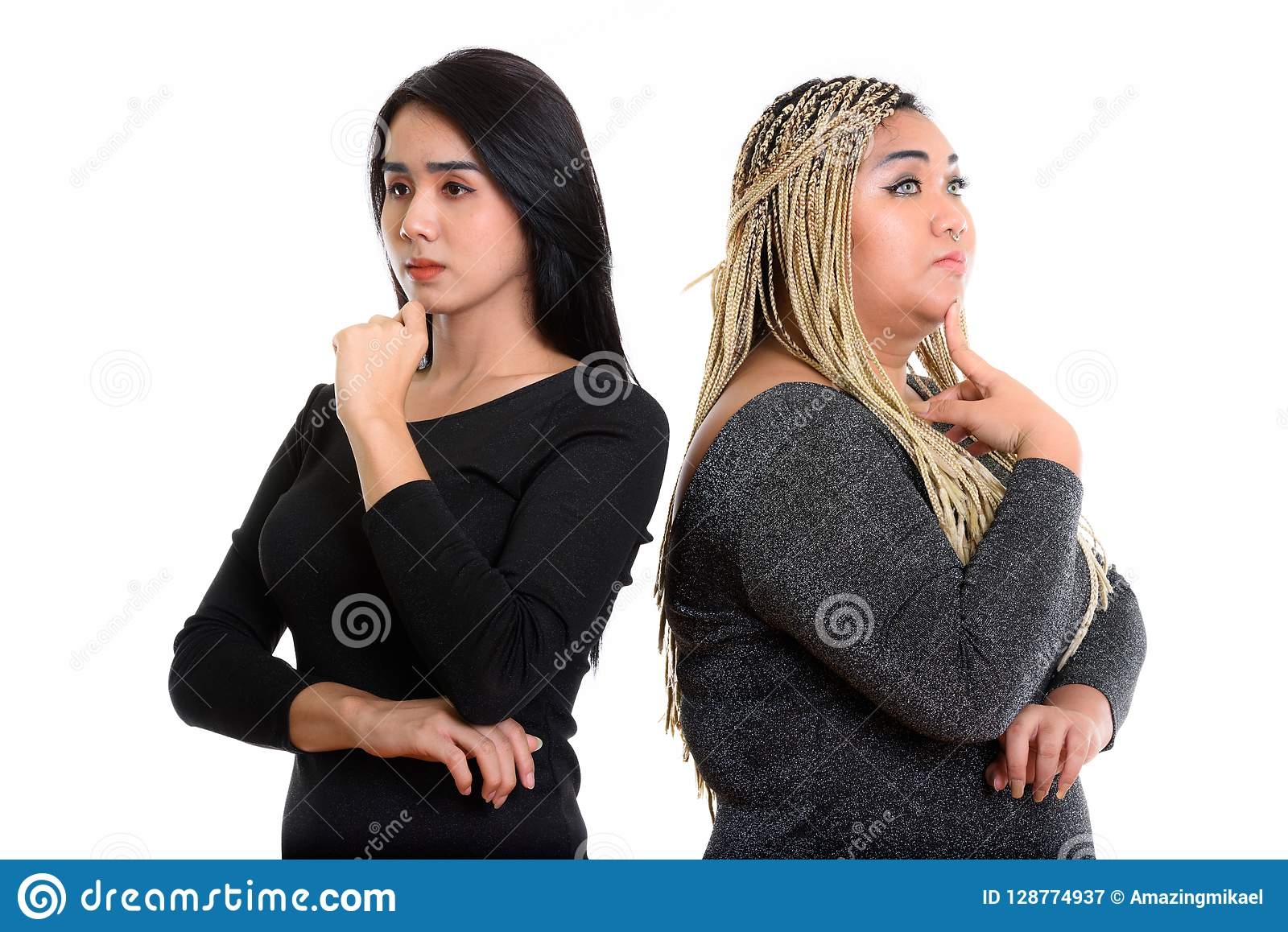 Young Asian transgender woman and fat Asian woman thinking toget