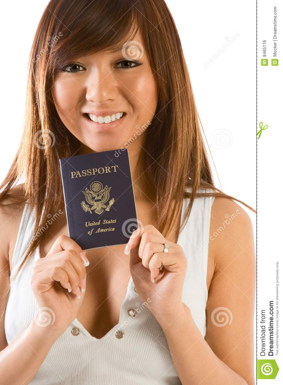 Young Asian Woman With American Passport In Hand Royalty