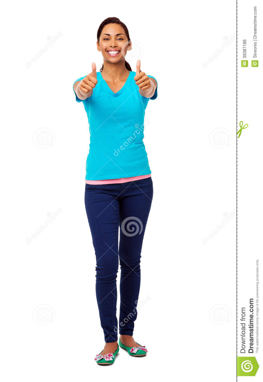 Young Asian Woman Gesturing Thumbs Up