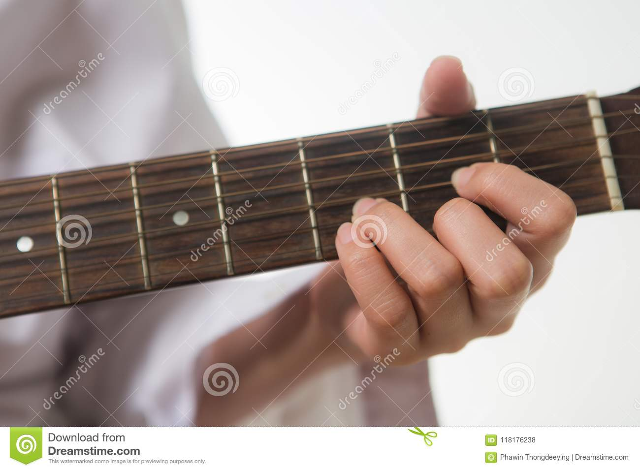 Young Woman Hands Touching Guitar Chords Stock Photo Image Of