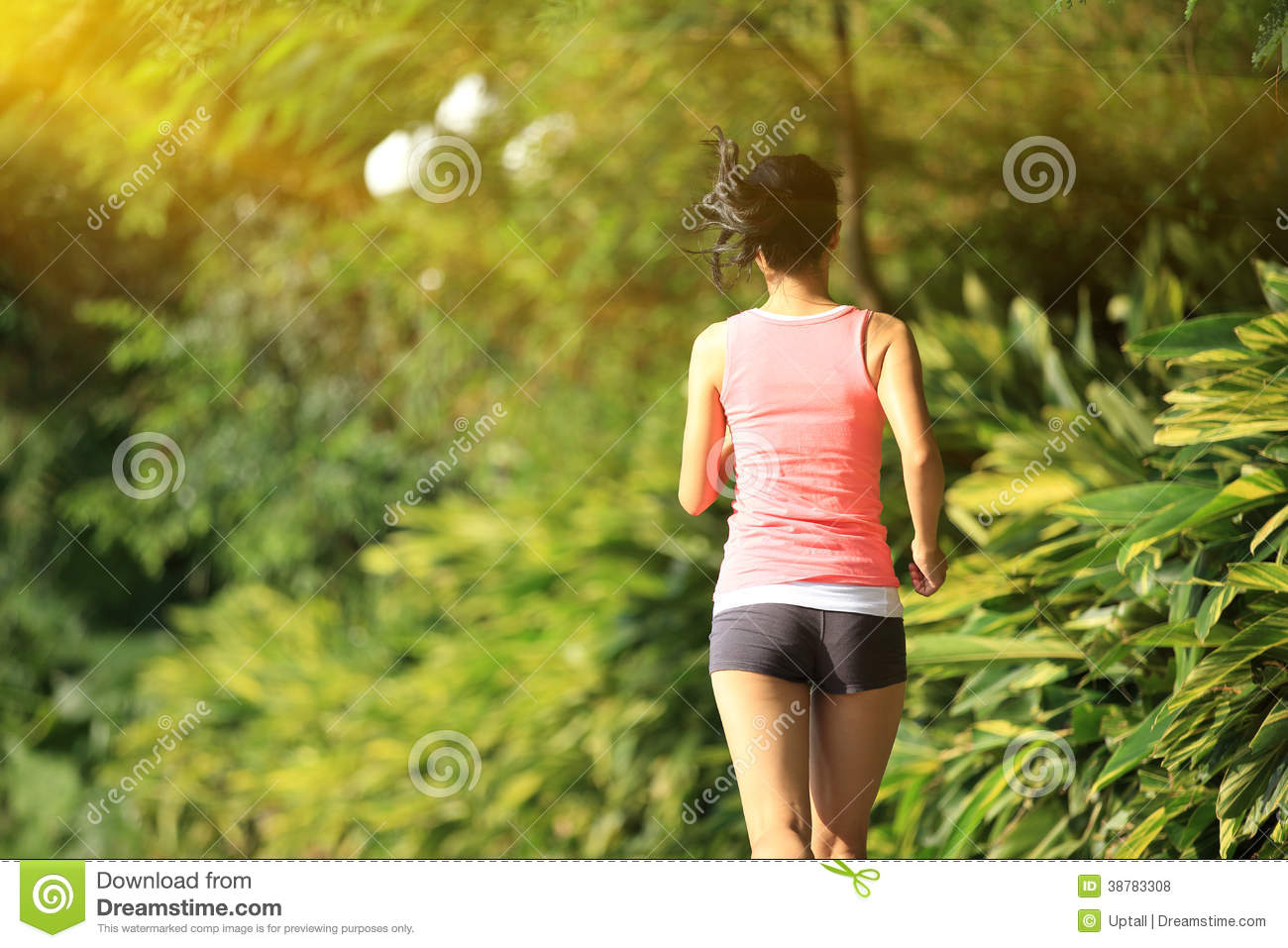 Healthy lifestyle young asian woman jogging at park