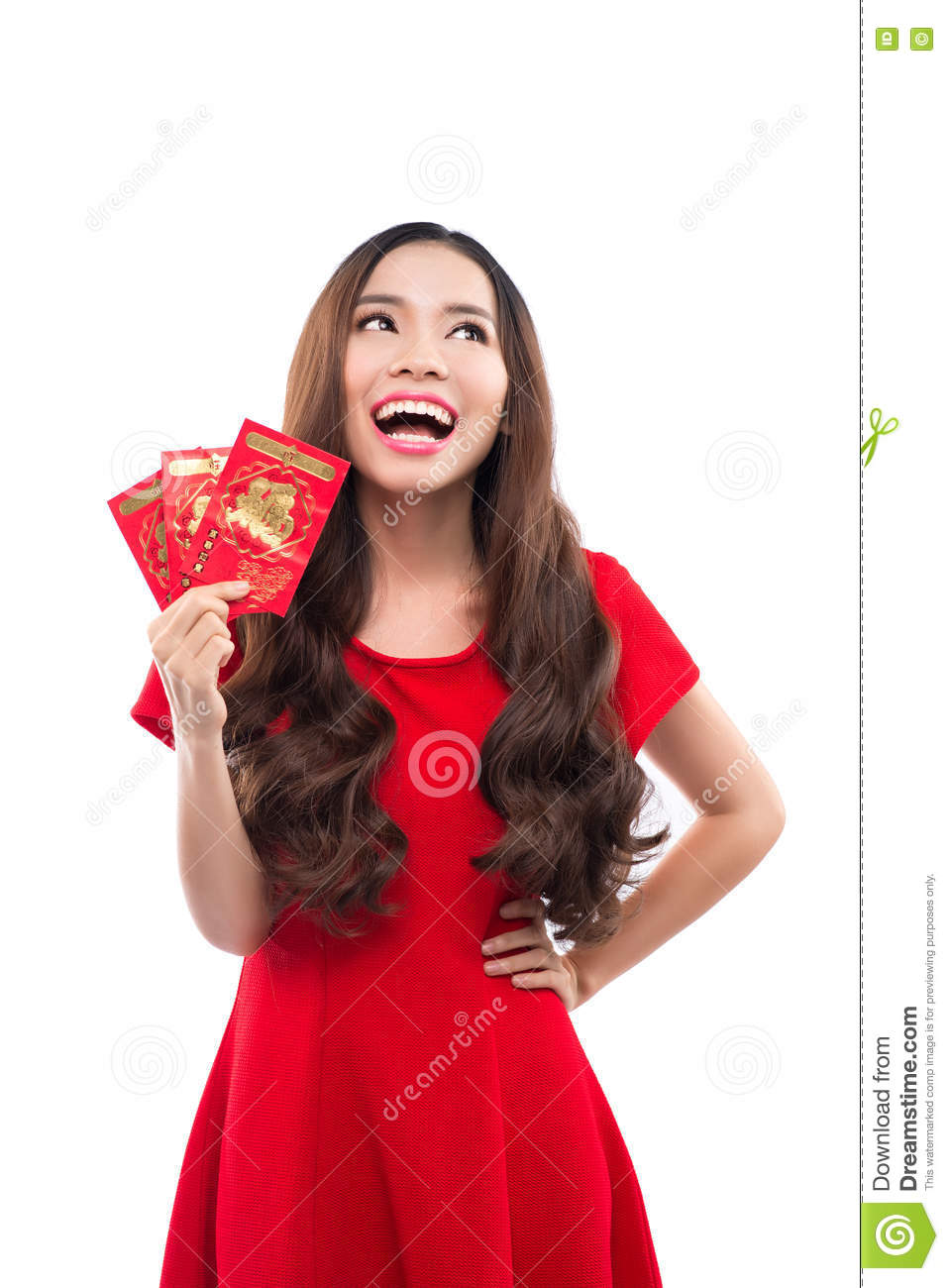Young asian woman with praying gesture wishing you good luck. Chinese young woman showing the lucky money. Young chinese woman hol