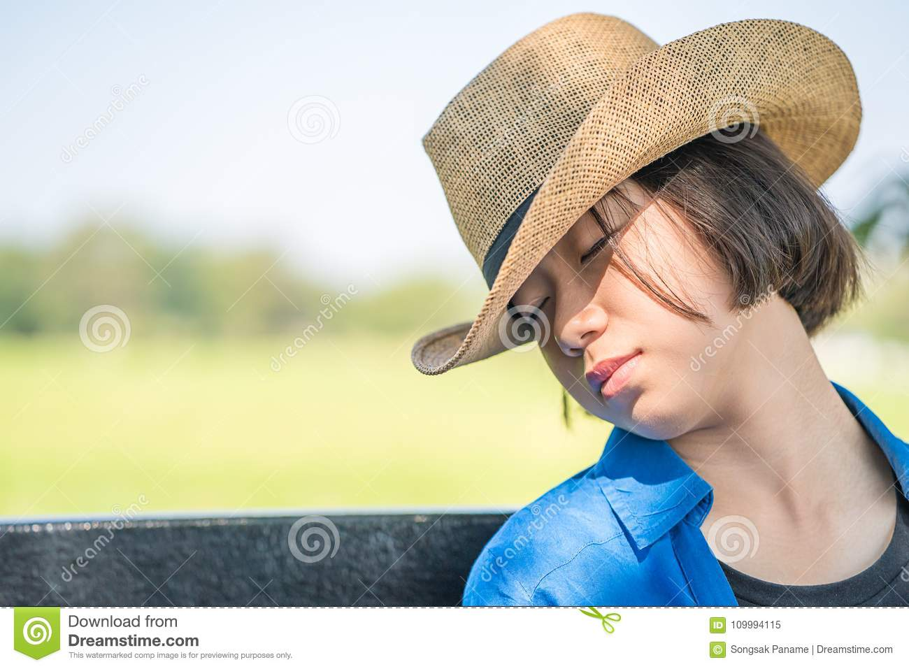 06603d51c Woman Wear Hat Sit Sleep In Countryside Stock Image - Image of short ...