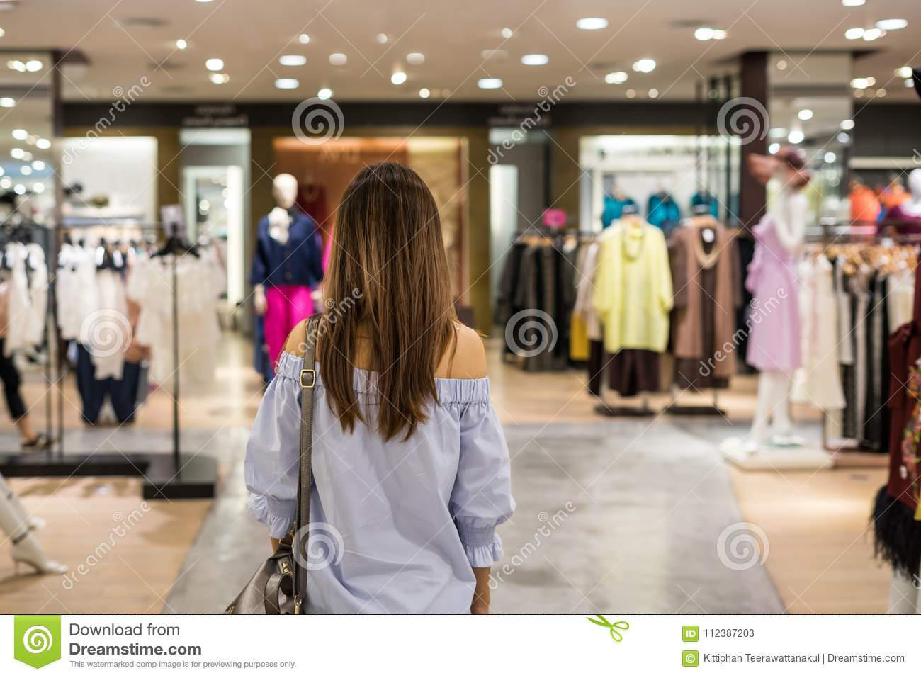 1f2a2833ac8 Young Asian Woman Walking In Clothes Store Stock Image - Image of ...