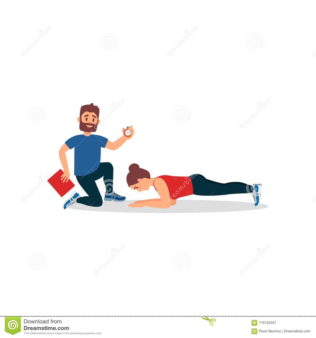 Young athlete girl doing plank exercise under control of personal trainer. Coach holding stopwatch and folder. Flat