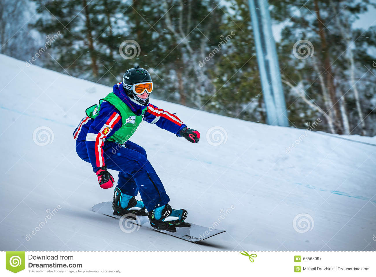 Male On Snowboard On The Slope Of Mountain Royalty Free