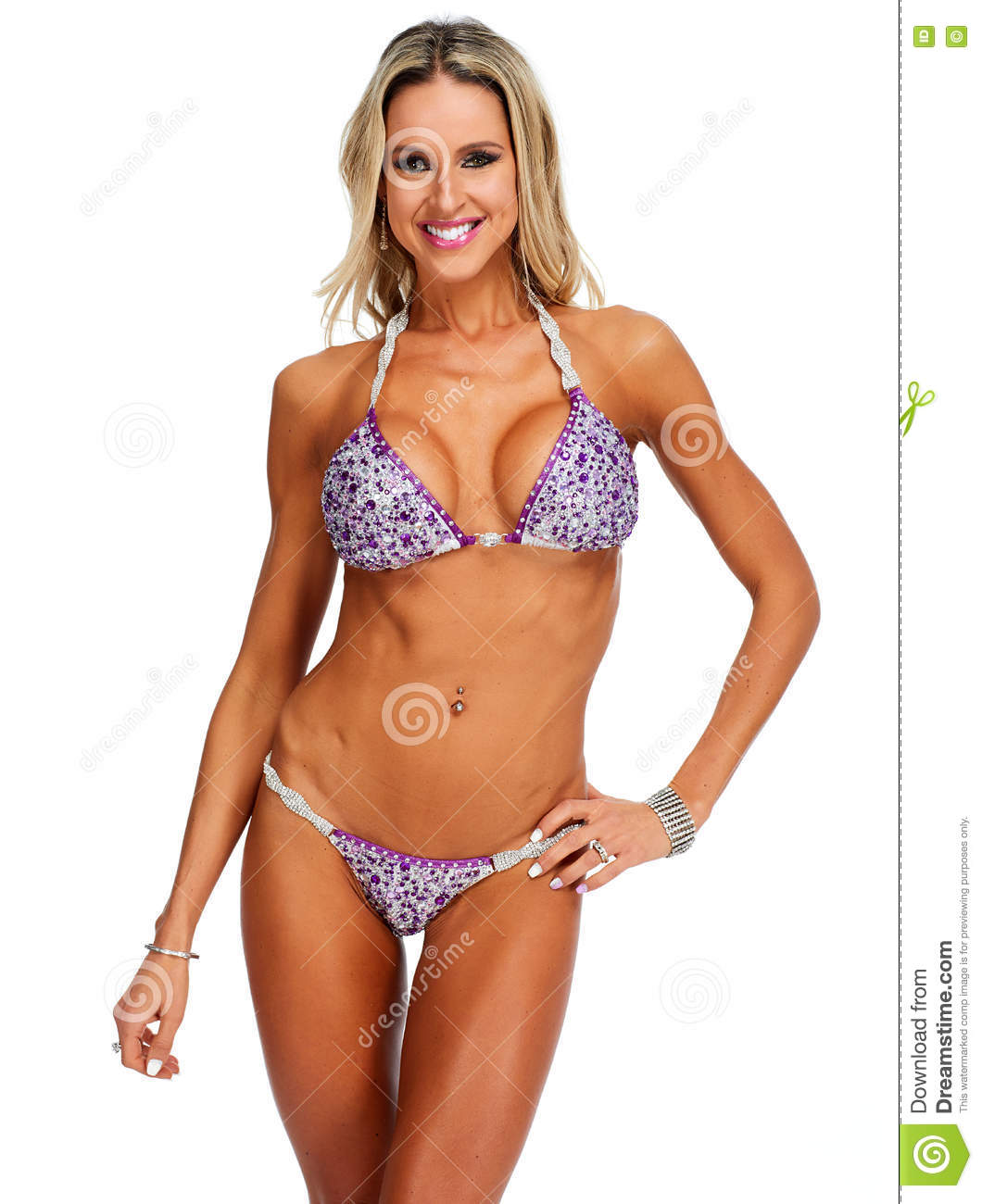 944641216c Young Athletic Girl With Body In Bikini. Stock Photo - Image of ...