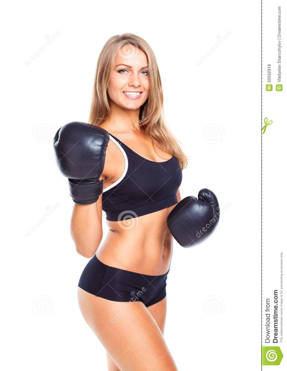 Young Athletic Woman In Boxing Gloves On A White Stock ...