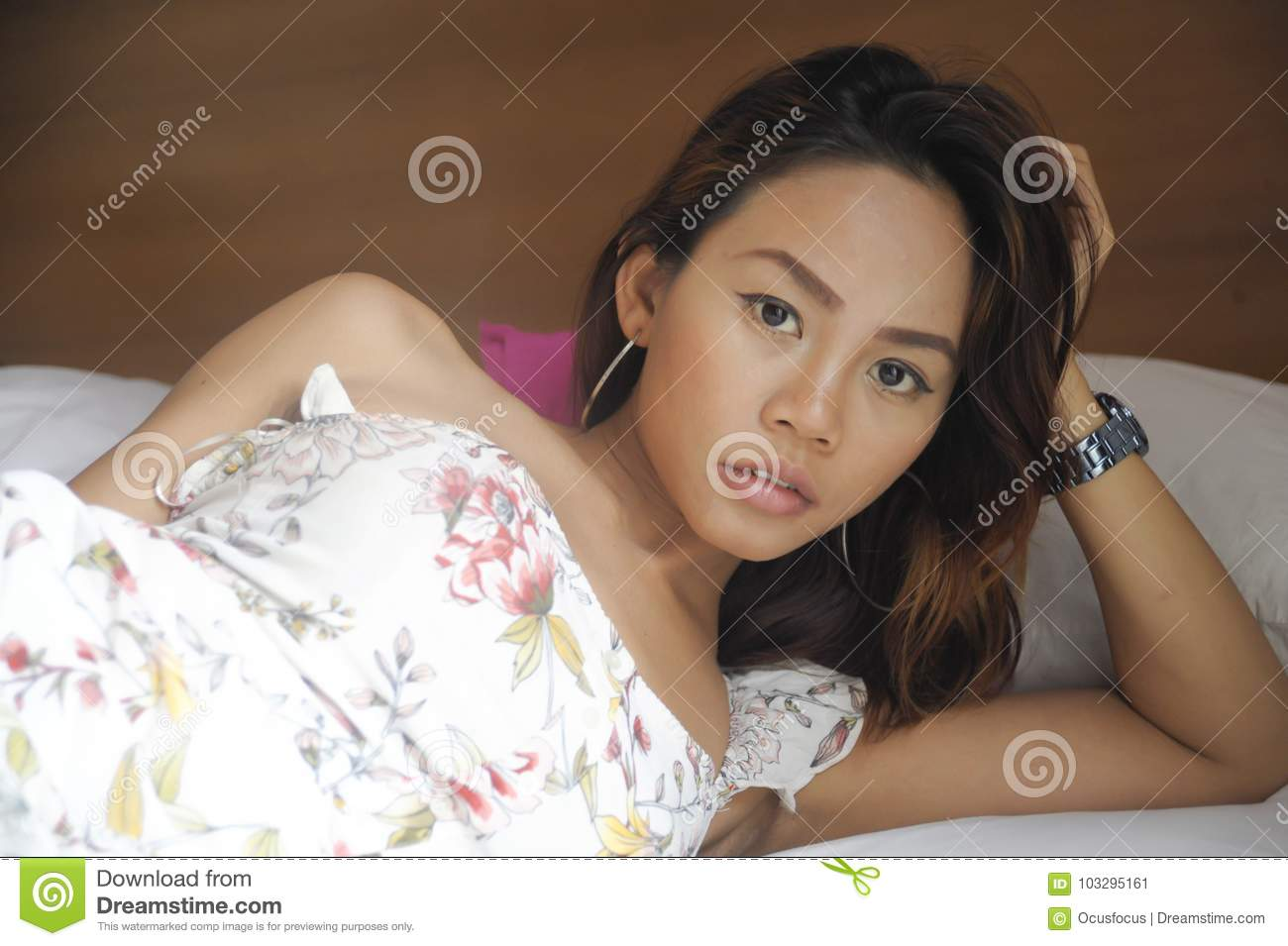 Fine Young Attractive And Beautiful Asian Woman Lying On Bed At Home Interior And Landscaping Ologienasavecom