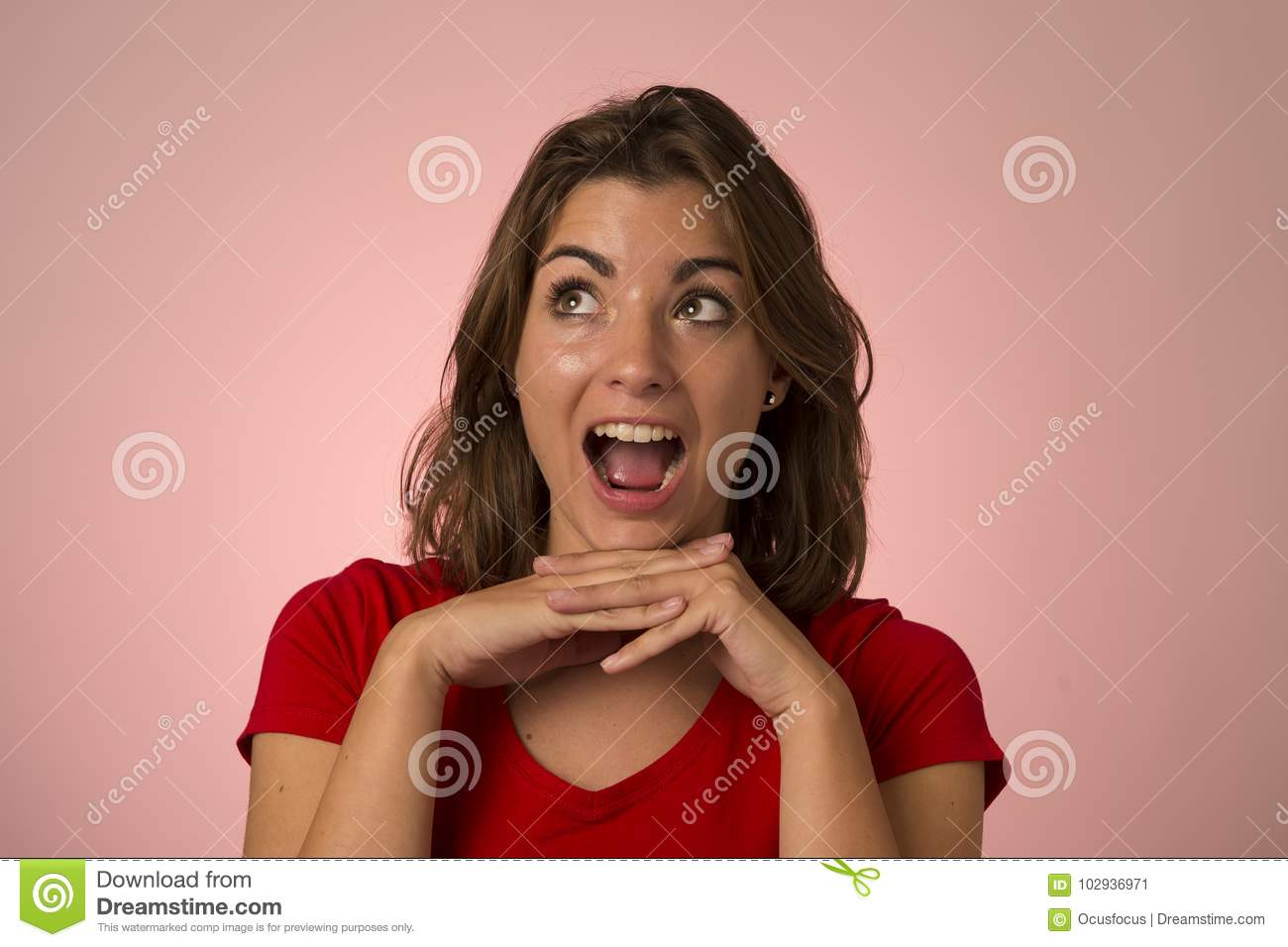 Young attractive and beautiful woman smiling excited and happy in nice shock and surprise showing positive and friendly face