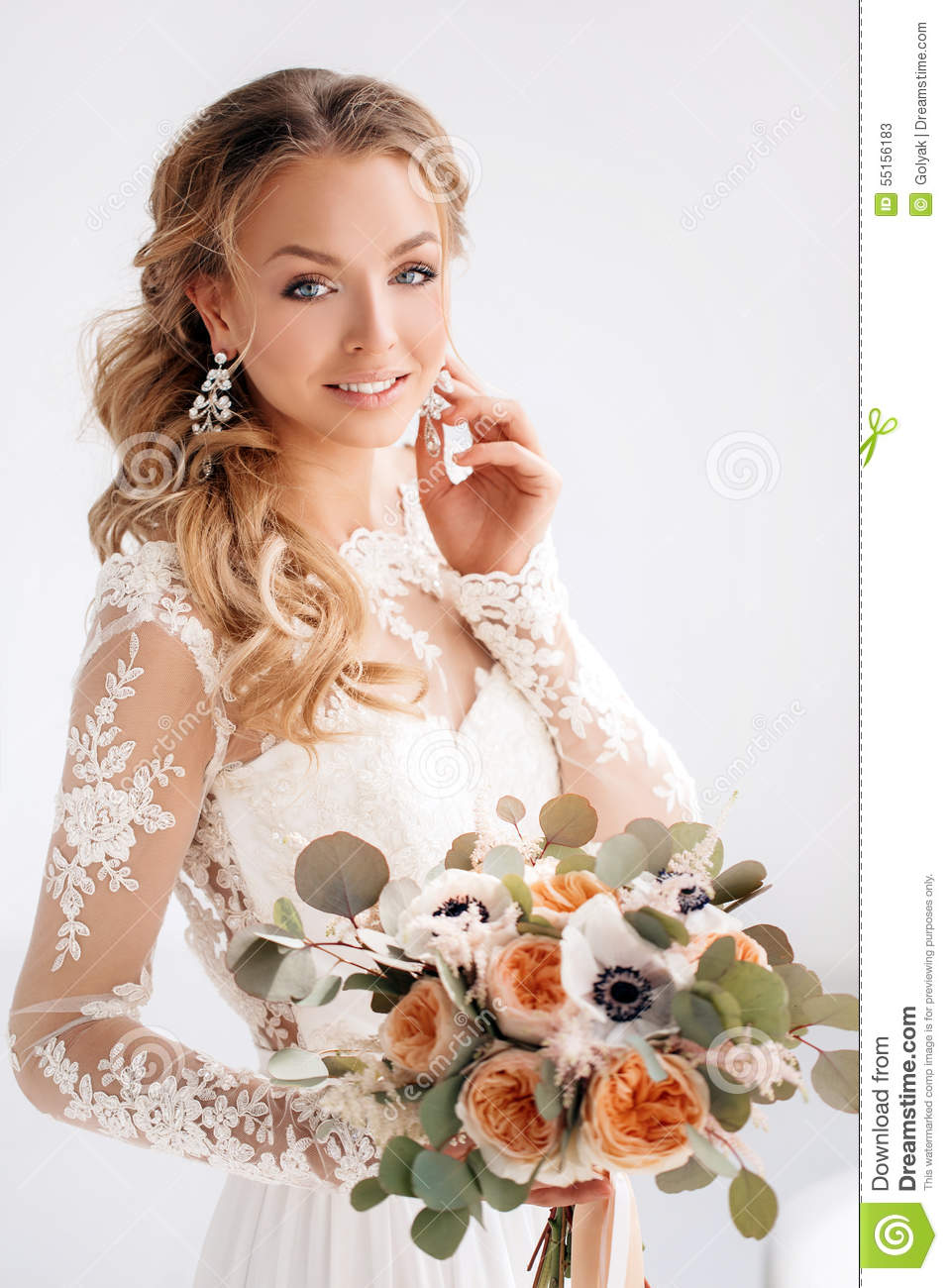 Young Attractive Bride With A Wedding Bouquet Stock Image Image Of