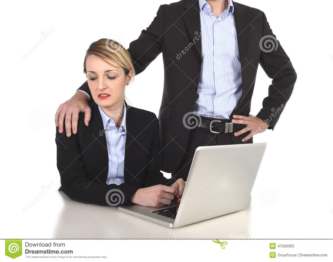 Young Attractive Businesswoman Suffering Sexual Harassment