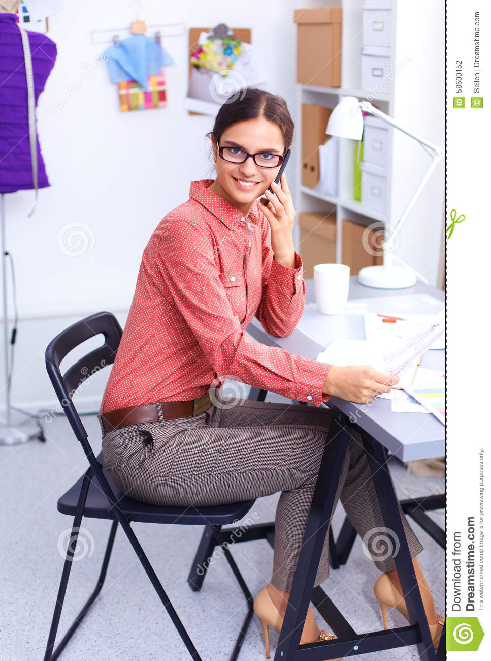 Young Attractive Fashion Designer Working Stock Image