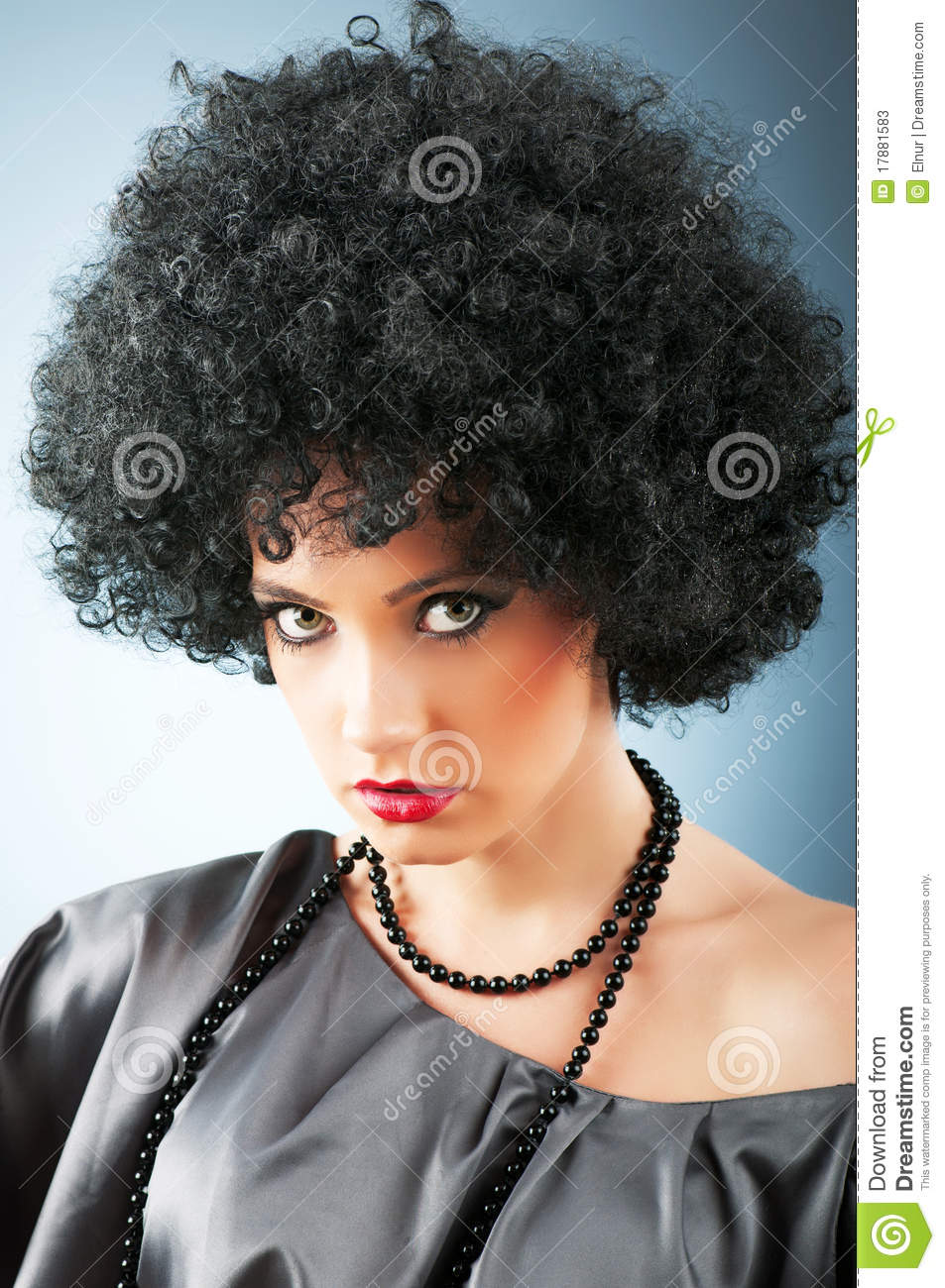 Young Attractive Girl With Afro Haircut Stock Image Image Of