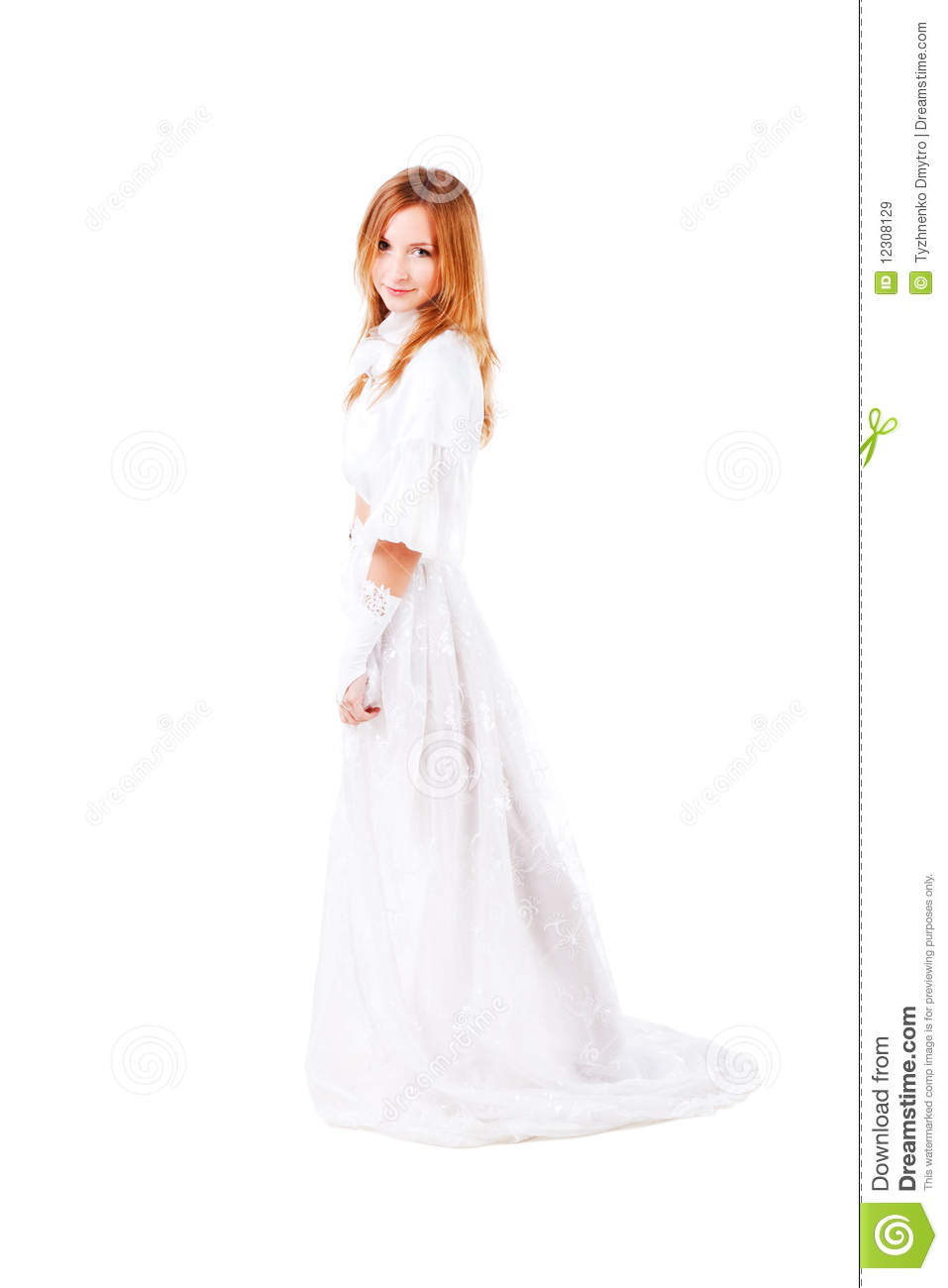 Young attractive girl in a wedding dress